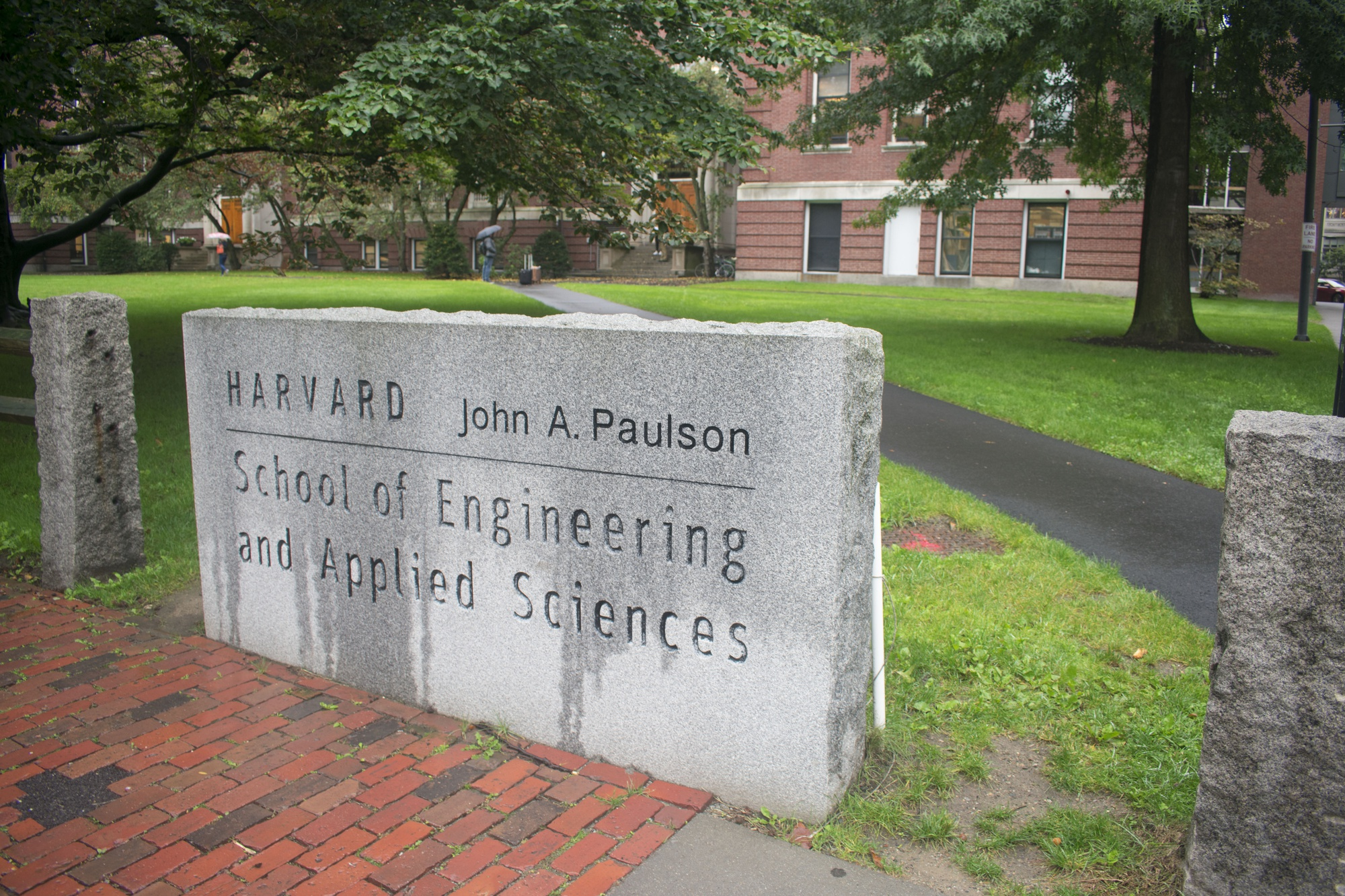 The John A. Paulson School of Engineering and Applied Sciences sign stands in front of Pierce Hall.