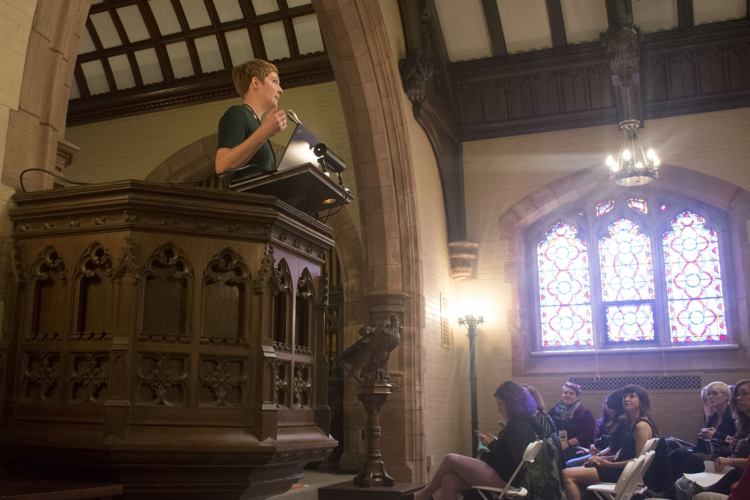 Robin S. Lacy speaks on death houses and winter burials in Canada at the Death Salon in Story Chapel.