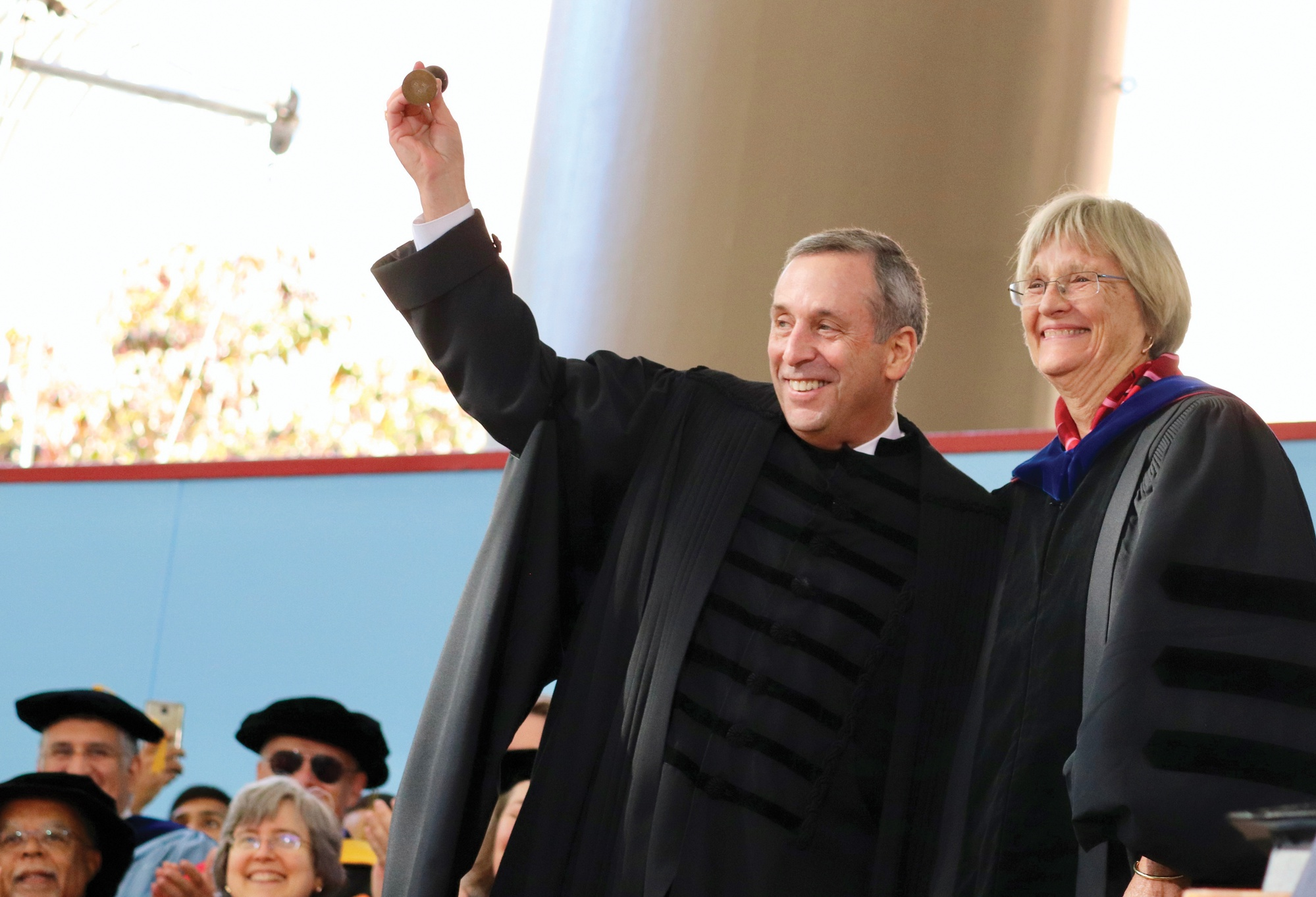 Lawrence S. Bacow was sworn in as Harvard's 29th president Friday in a ceremony attended by four University presidents.