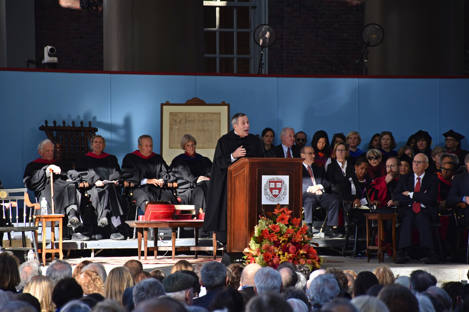 Harvard President Lawrence S. Bacow, pictured here at his inauguration in 2018, said in an interview Friday that the University will not remove the Sackler name from campus buildings.