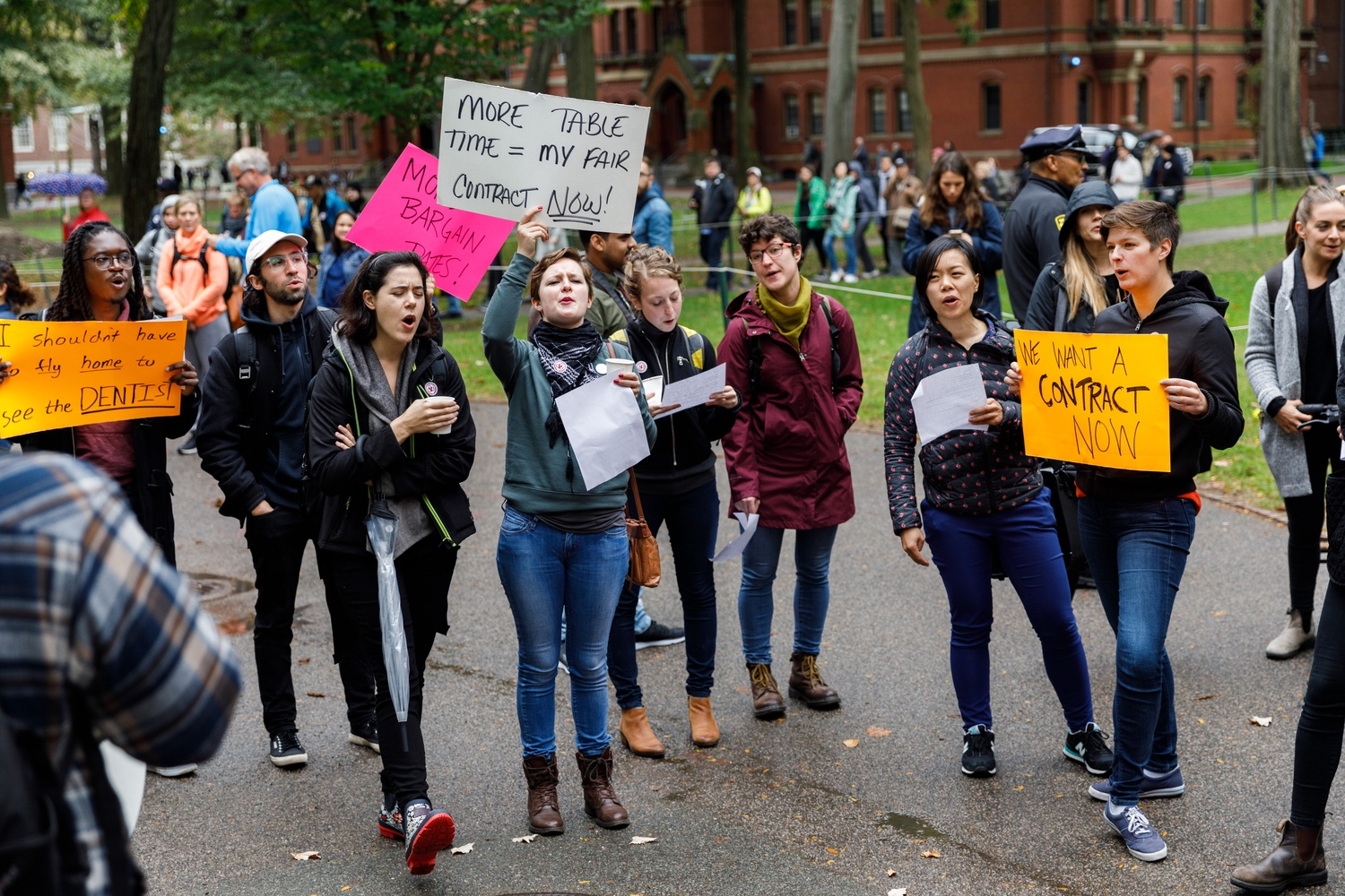 "Harvard Graduate Students Union marked the launch of their historic bargaining sessions with the University in October 2018 by holding a ""Bargainfest"" celebration by the John Harvard statue."