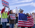 PE: SFFA Signs and American Flags at Copley Rally