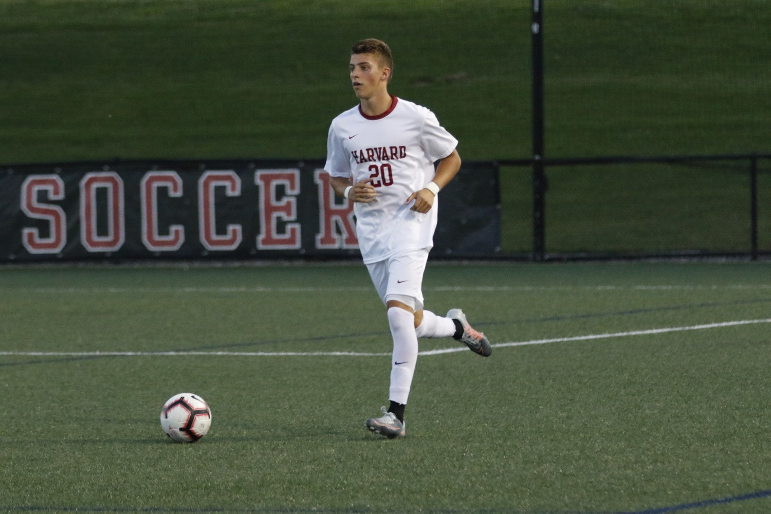 Sophomore defender Fernando Docters advances the ball in his own half in Saturday's overtime loss.