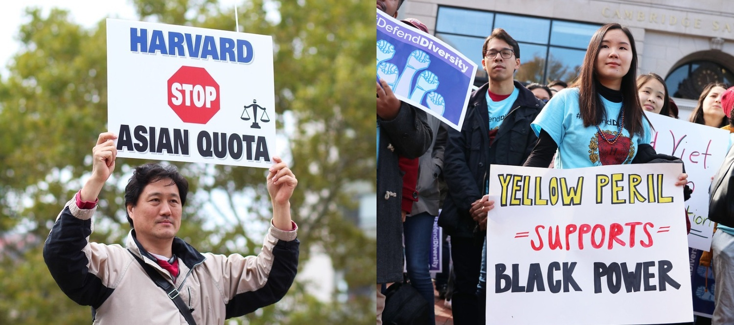 Protesters hoist opposing signs at two different rallies — separated by four miles and a vast ideological chasm — held in Boston and Cambridge the day before the launch of the Harvard admissions trial.