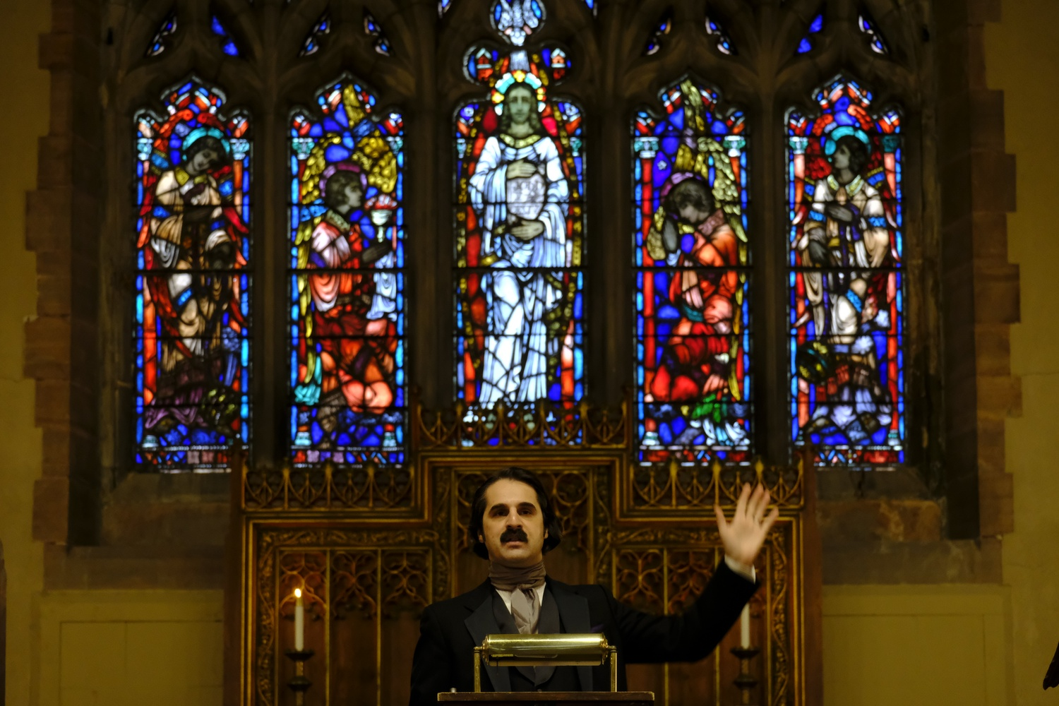 Rob Velella impersonates Edgar Allan Poe at Mt. Auburn Cemetery's Story Chapel on Saturday afternoon.