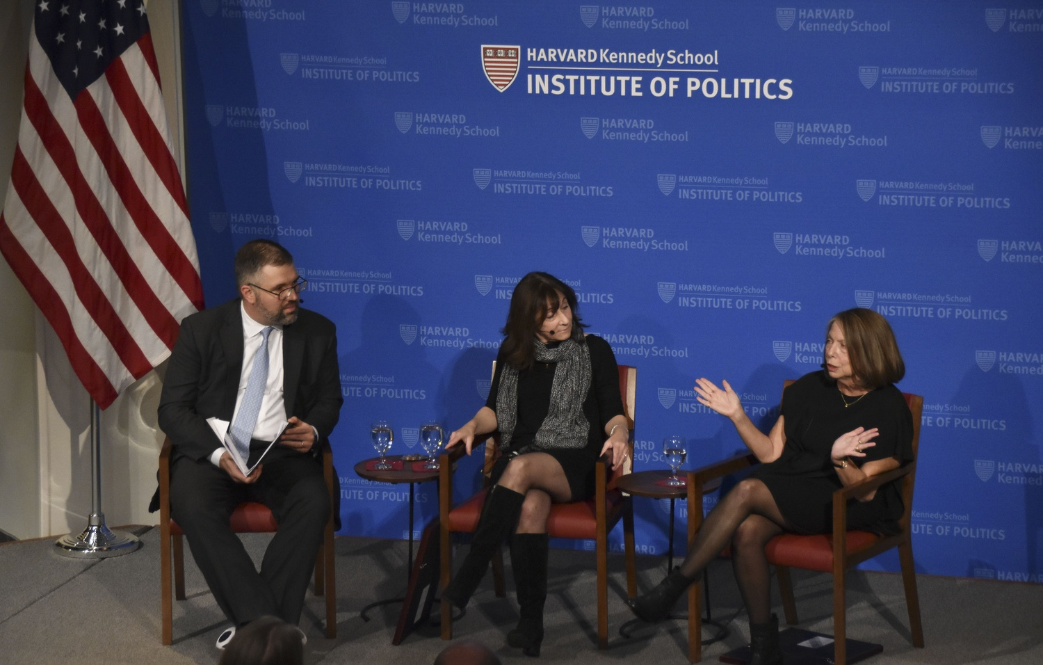 Former executive editor of The New York Times Jill E. Abramson speaks about the impact of the press on the political world during a forum event with Jane M. Mayer and David J. Von Drehle.