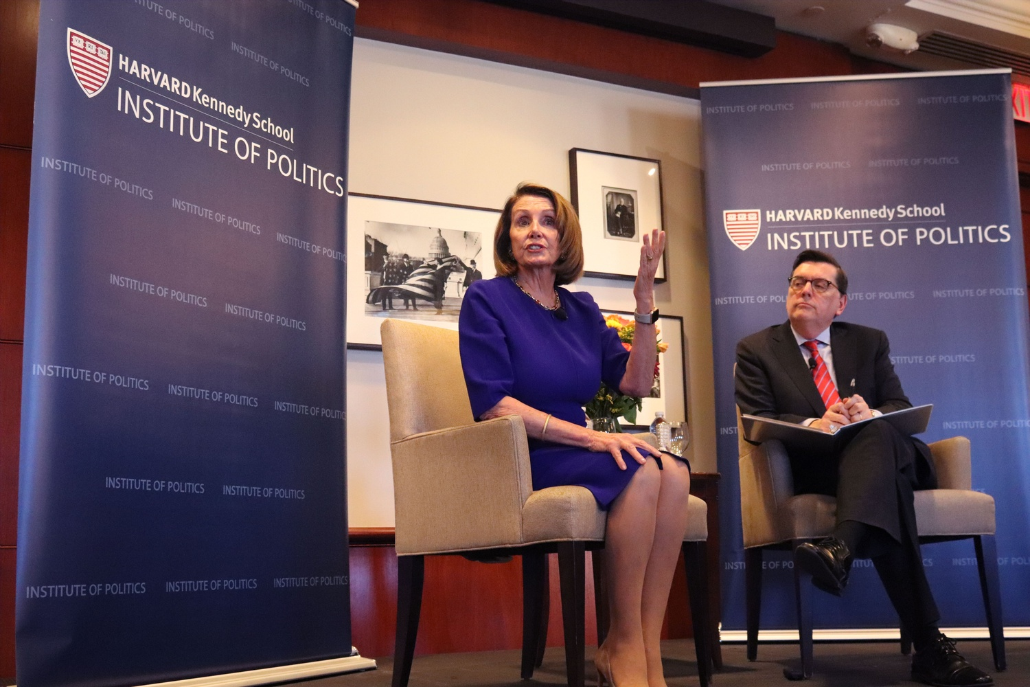 IOP Director Mark D. Gearan '78 in conversation with U.S. Rep. Nancy Pelosi, the Speaker of the House, at an IOP event in October 2018.