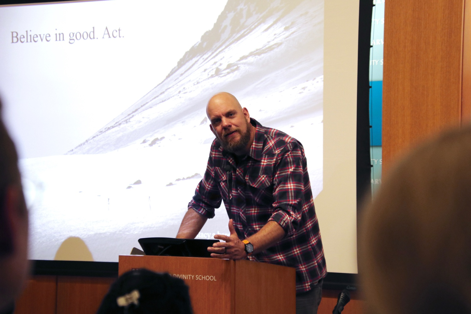 Stacy A. Bare, Founder of Adventure Not War and National Geographic Adventurer, speaks about his experiences and connection to the outdoors Wednesday evening at Harvard Divinity School.