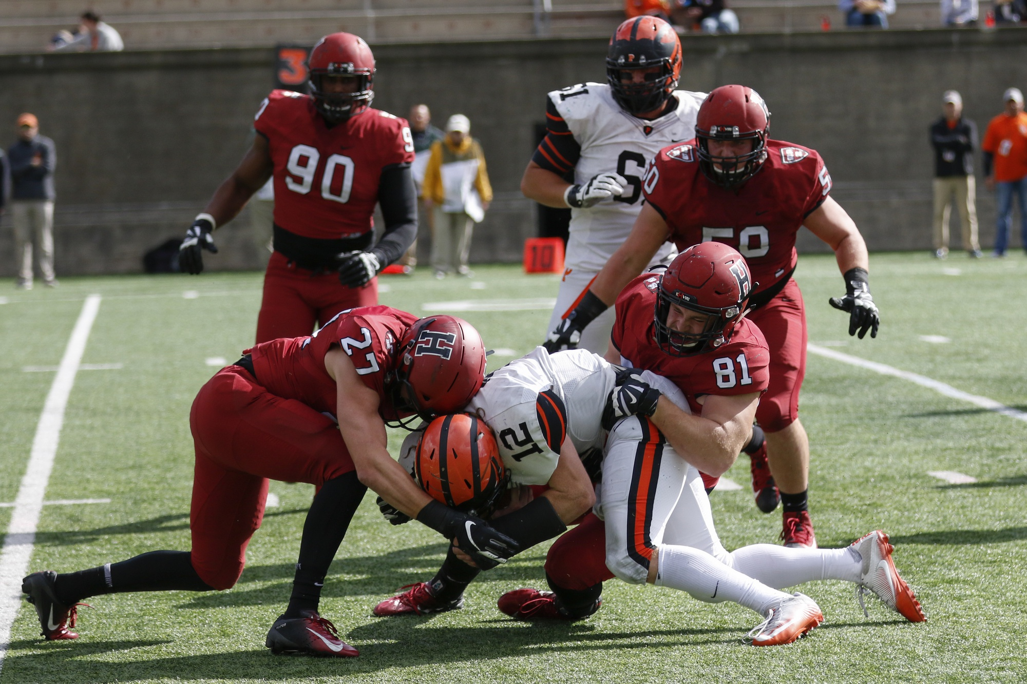 The Crimson's defense limited a potent Princeton attack on Saturday, holding the Tigers to just 29 points compared to their prior season average of 52.