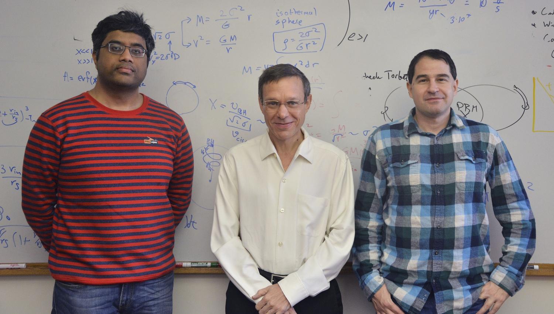 Manasvi Lingam, Avi Loeb, and Idan Ginsburg, authors of the study Galactic Panspermia, pose for a photo.