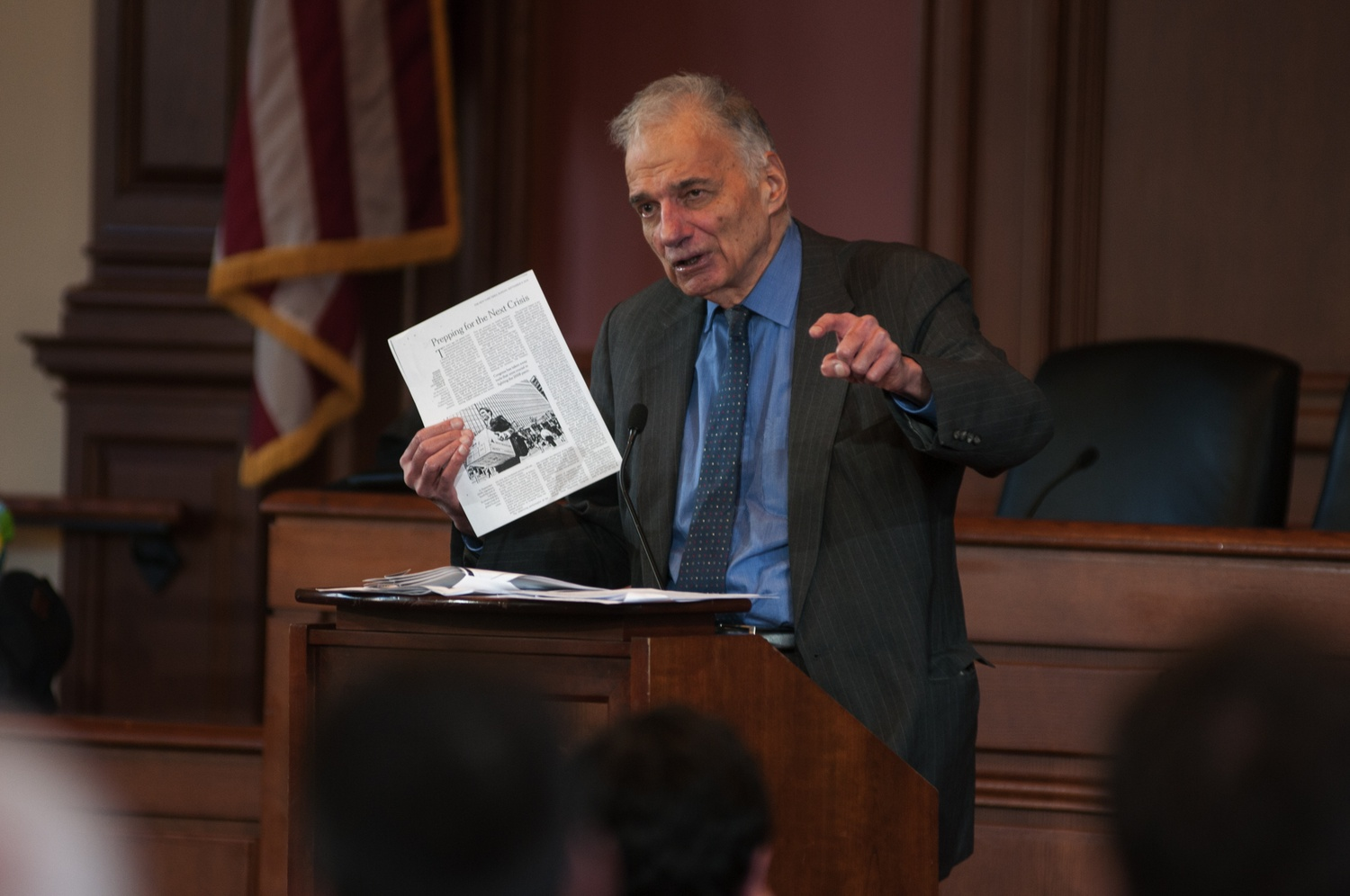 Ralph Nader argued for the importance of public interest law during a talk Thursday.