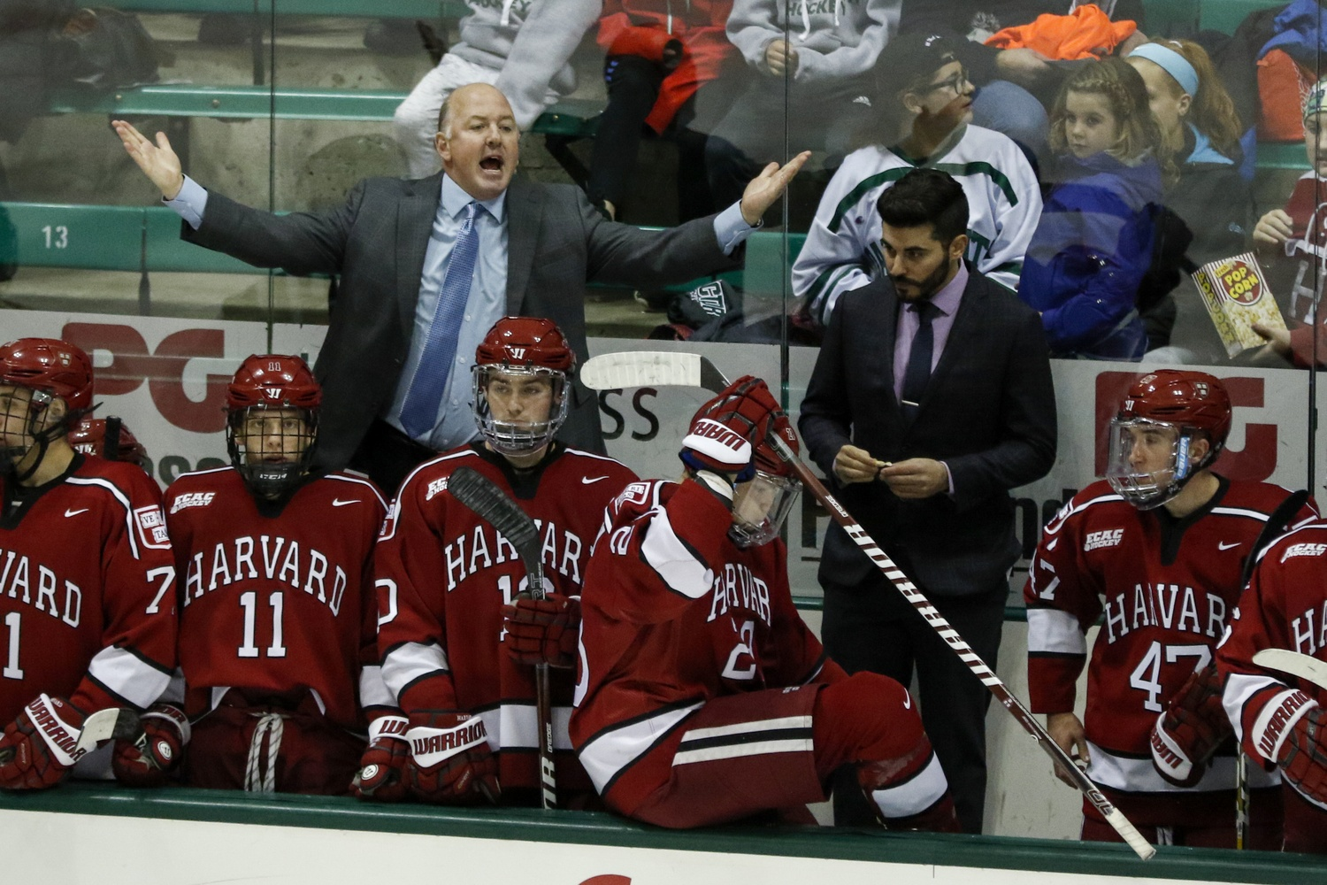 Tempers flared in this matchup of ECAC travel partners, as the Crimson and the Big Green combined for 14 minor penalties through 60 minutes of play.