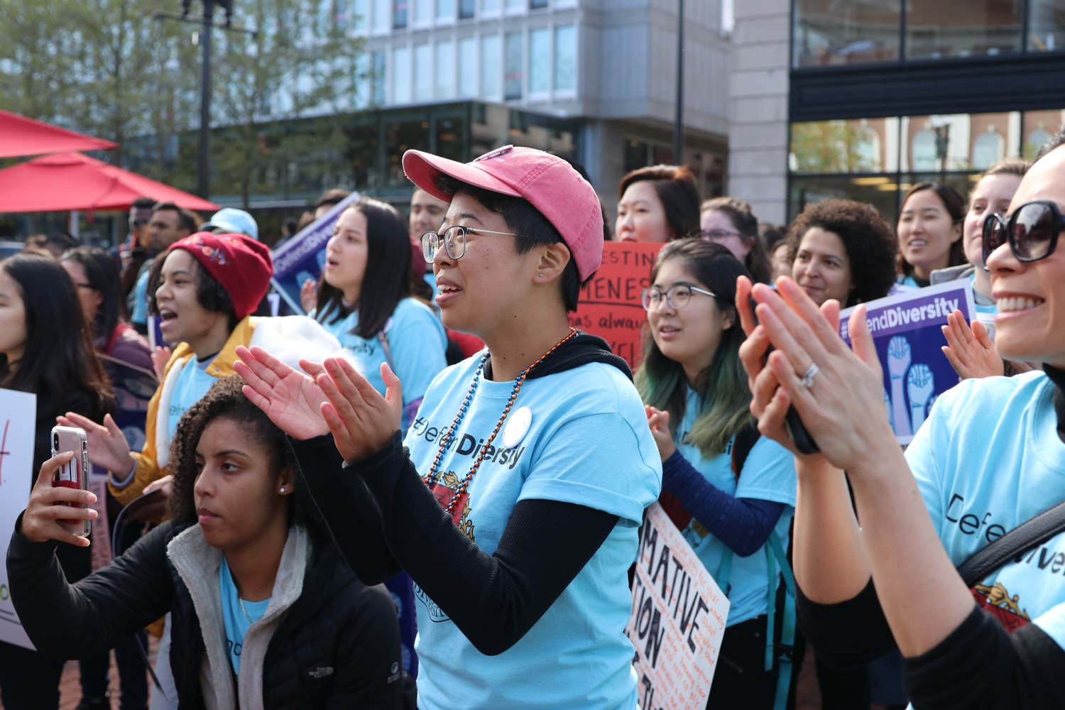 Sally Chen '19 came up with the name for the #DefendDiversity rally, held at the Harvard Square Pit on Oct. 14, 2018, the day before the admissions trial began.