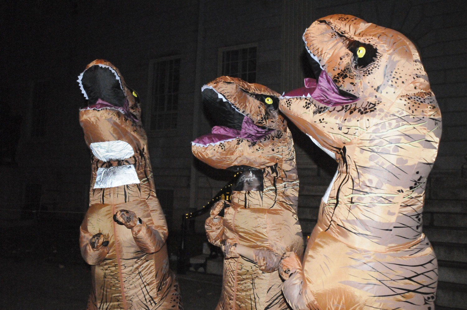Students dressed up for the Halloween costume contest and trick-or-treating in Harvard Yard.