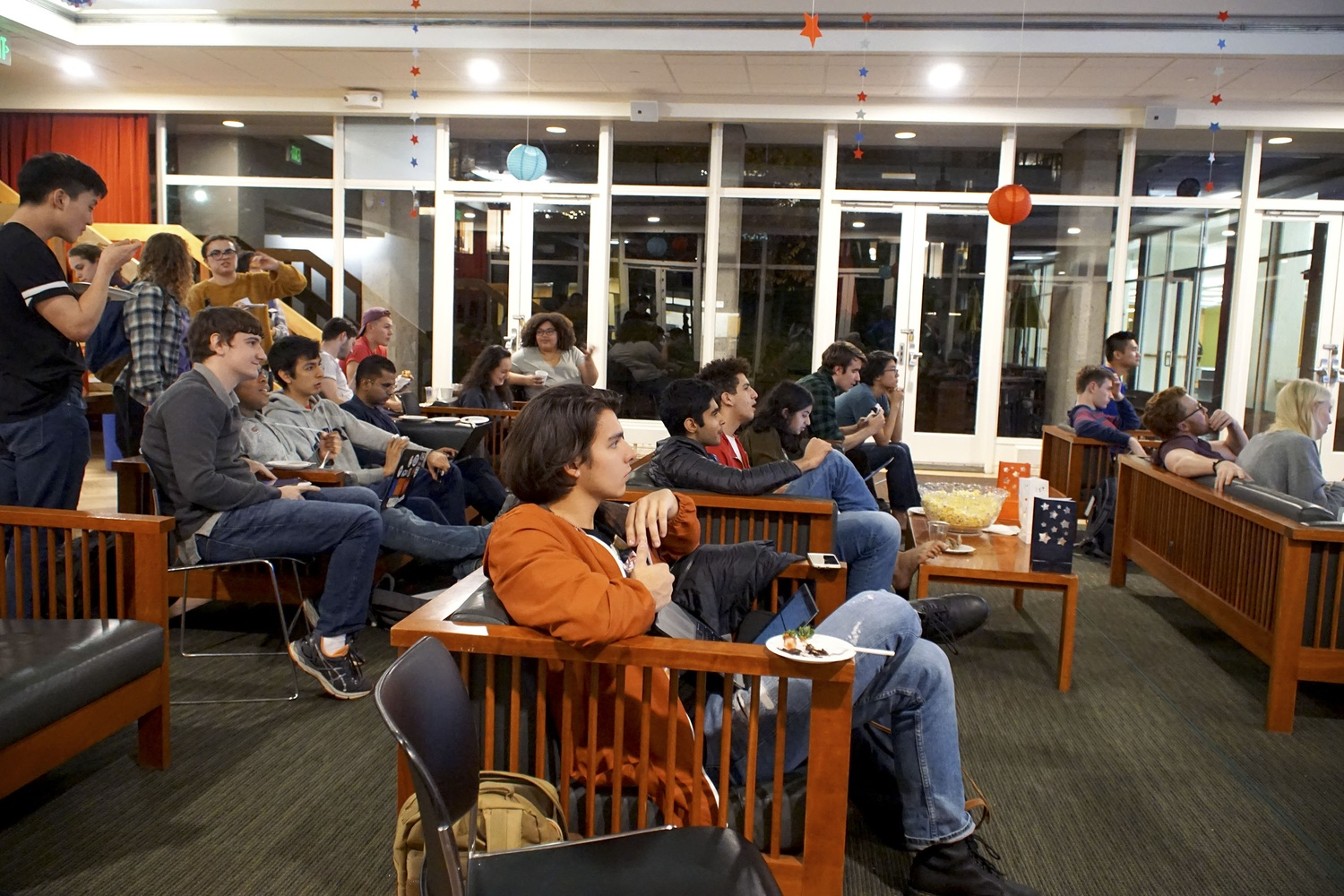 The Department of Government hosts an election night watch party in the Currier House Fishbowl.