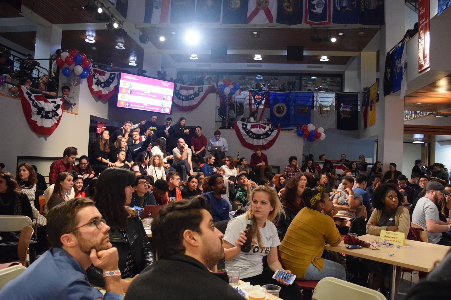 Students gather for an election night watch party held at the Institute of Politics on Tuesday night.