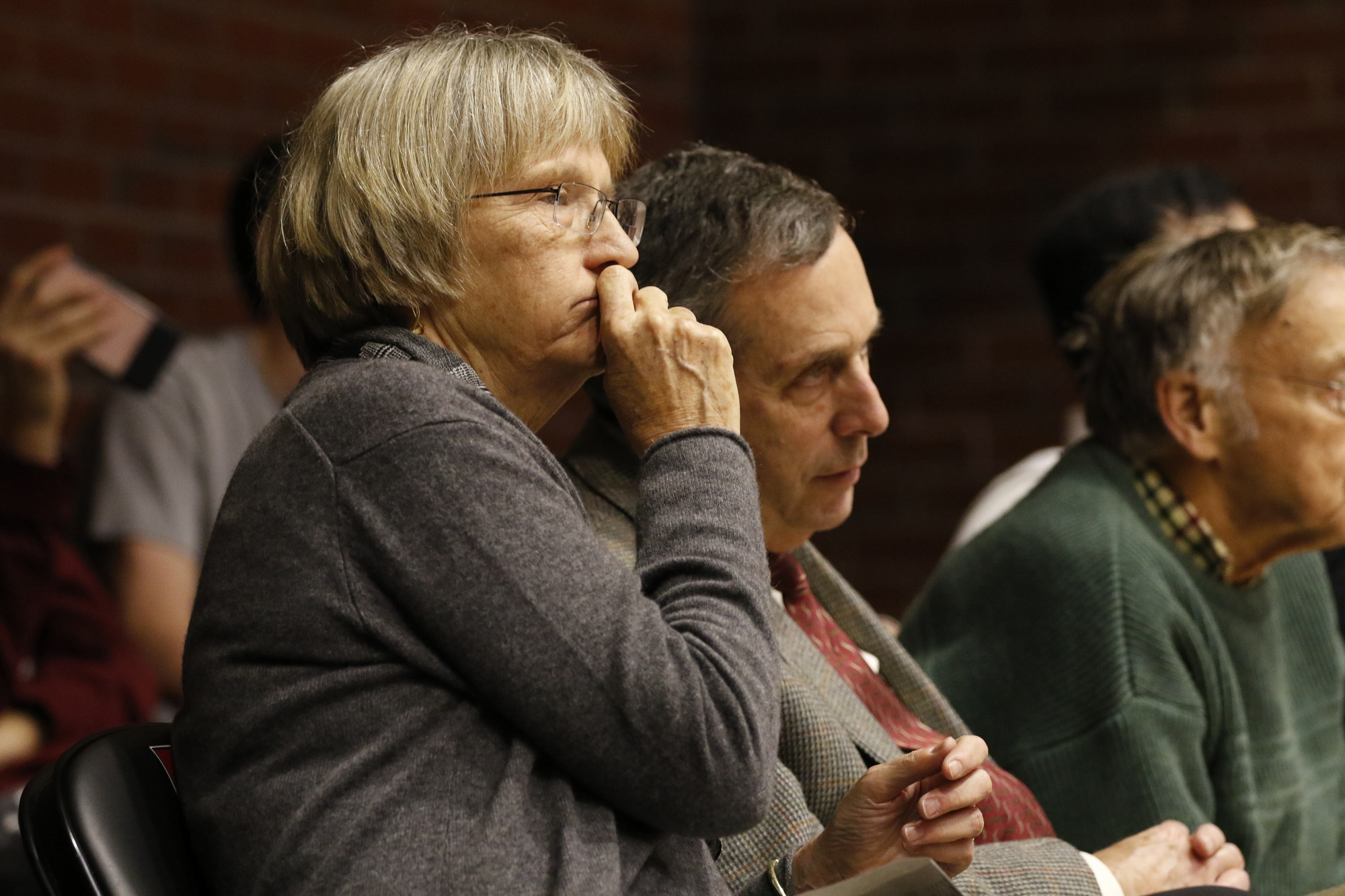 Former President Drew Faust and current President Lawrence S. Bacow were in attendance.
