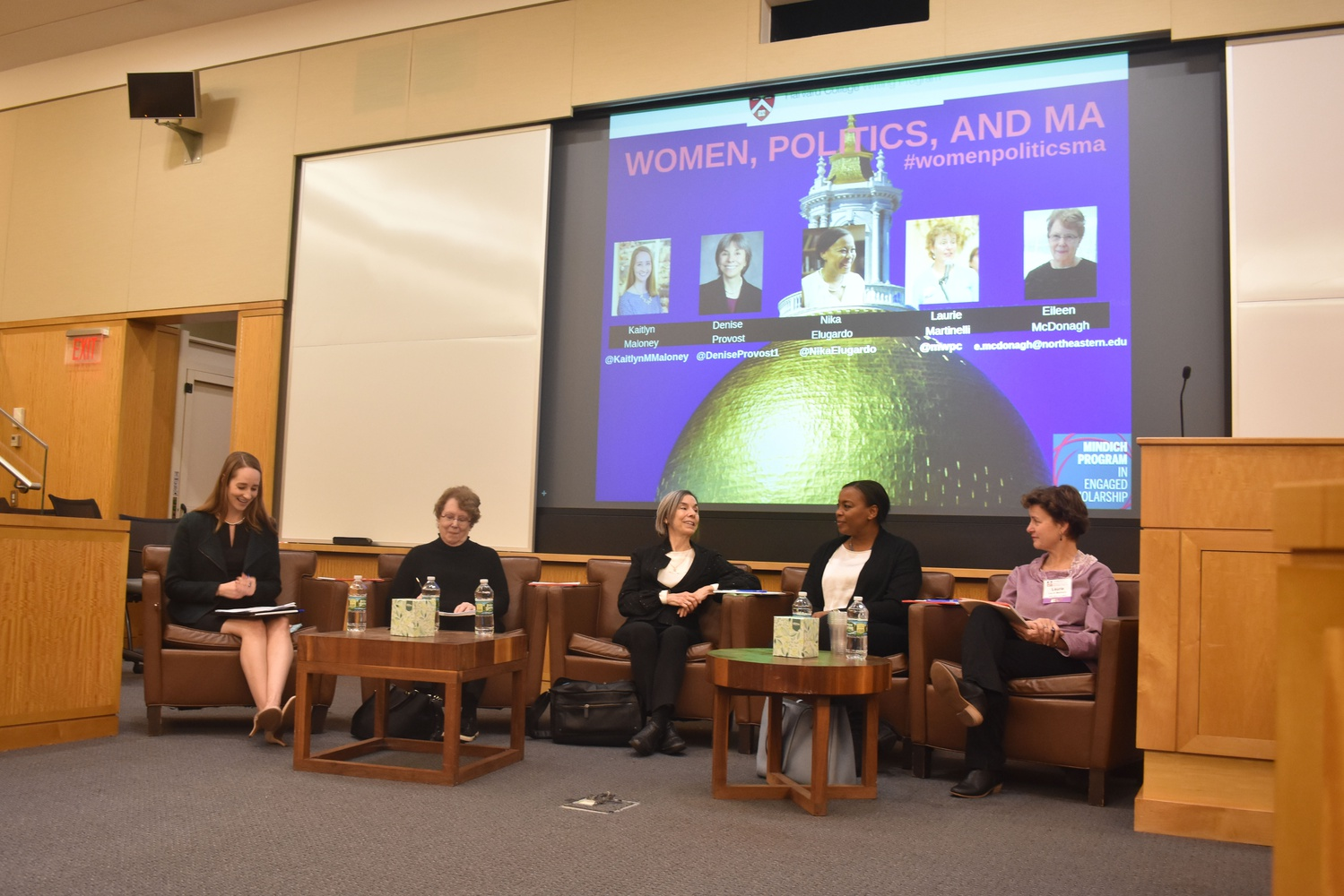 Five panelists discussed ways to increase female political representation in Massachusetts Wednesday afternoon in CGIS South.