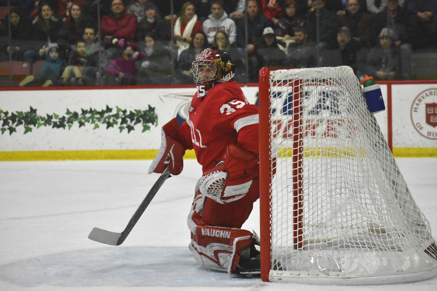 In last season's clash at Bright-Landry, Big Red goalie Matt Galajda, then a rookie, turned away 35 shots to shut out the Crimson.