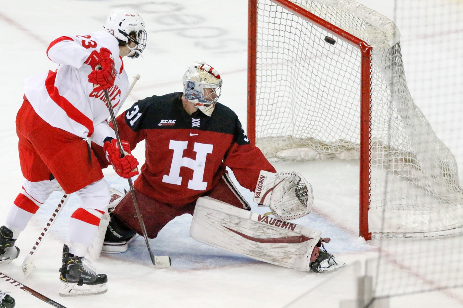 Cornell opened the scoring in the first period, courtesy of freshman forward Liam Motley's deflection. Harvard also ceded the first goal in its previous three MSG bouts.