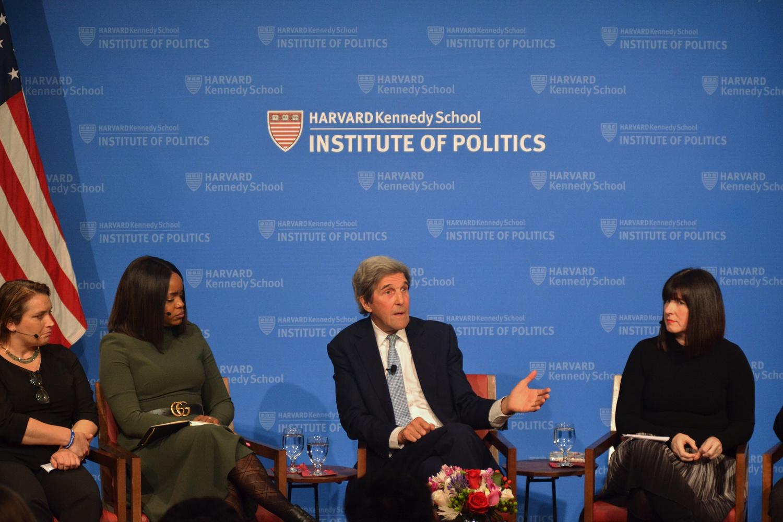 Former Secretary of State John Kerry speaks at the Institute of Politics' JFK Jr. forum.