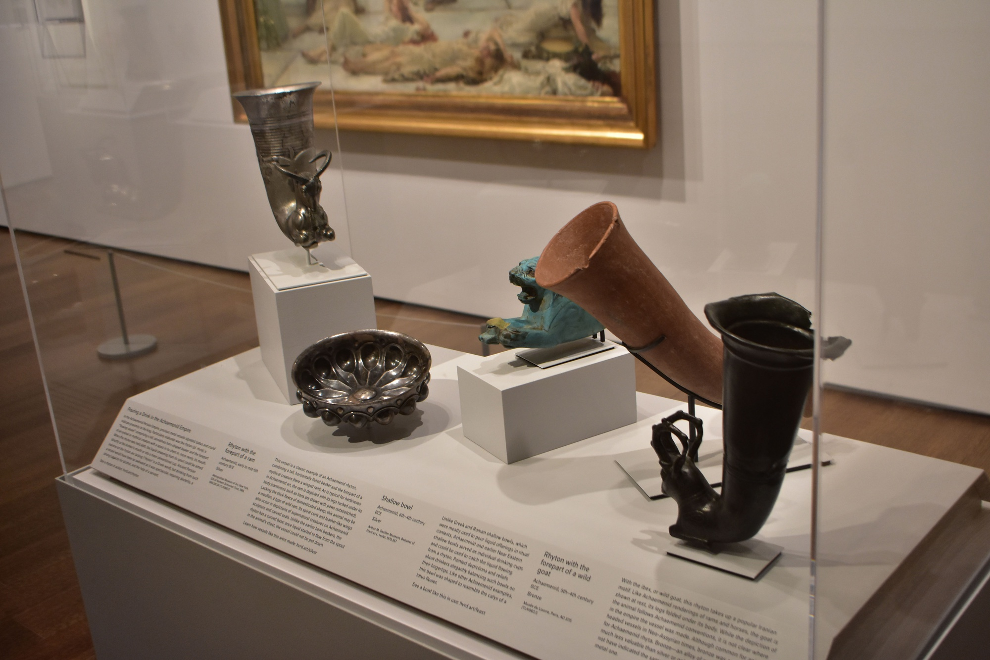 """Rhytons and bowls are on display at the Harvard Art Museums' new exhibit, """"Animal-Shaped Vessels from the Ancient World: Feasting with Gods, Heroes, and Kings."""""""