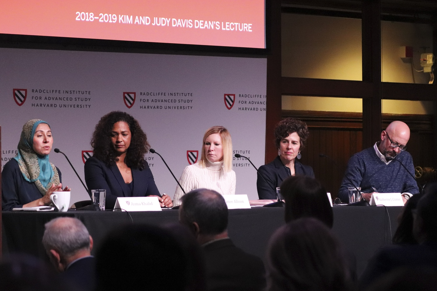 Asma Khalid, a political reporter for NPR, introduces panelists at an event discussing the 2018 midterm elections Tuesday afternoon in the Knafel Center at the Radcliffe Institute.