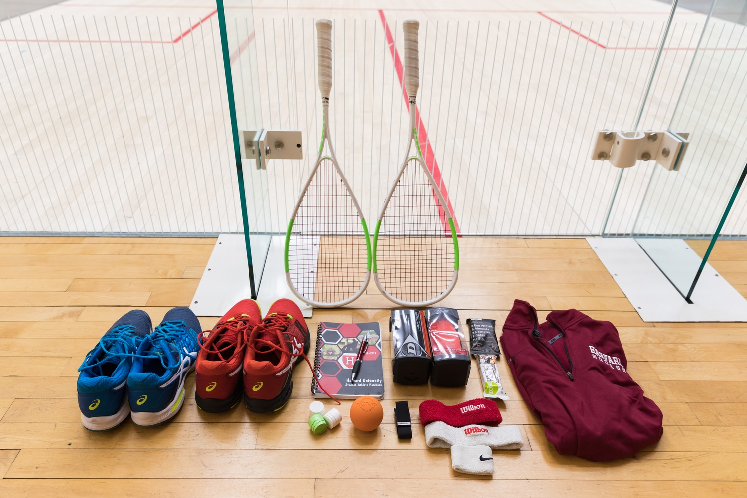 Junior Timothy Brownell, a top three player for the Harvard men's squash team, packs an assortment of essential gear in his bag.