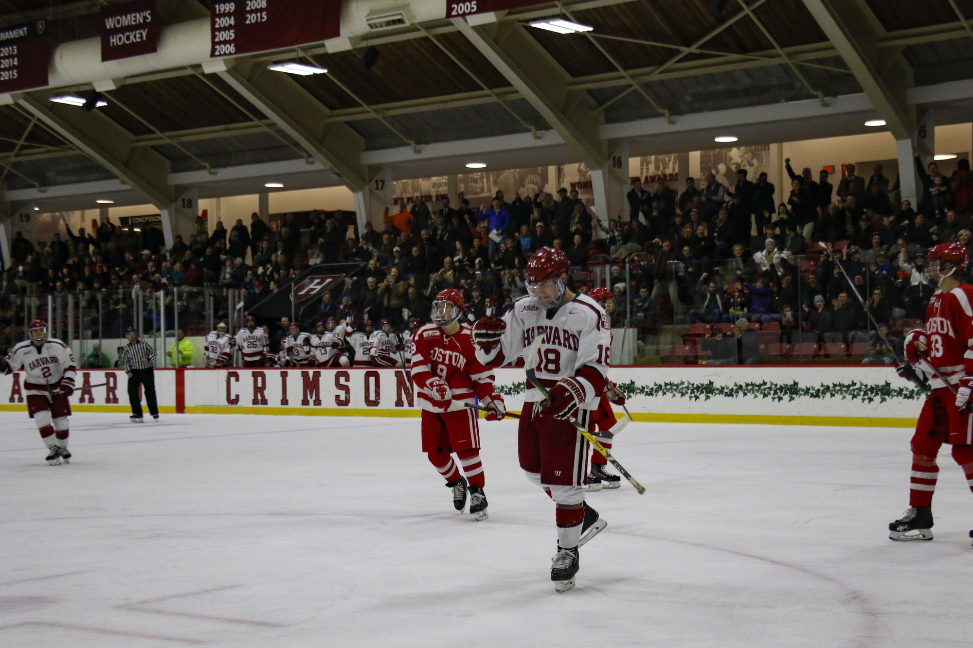 Harvard's elite offensive defenseman, Adam Fox, returned his name to its usual place — the scoresheet — on Tuesday night. Fox opened the scoring for the Crimson with a wrist shot from the slot.