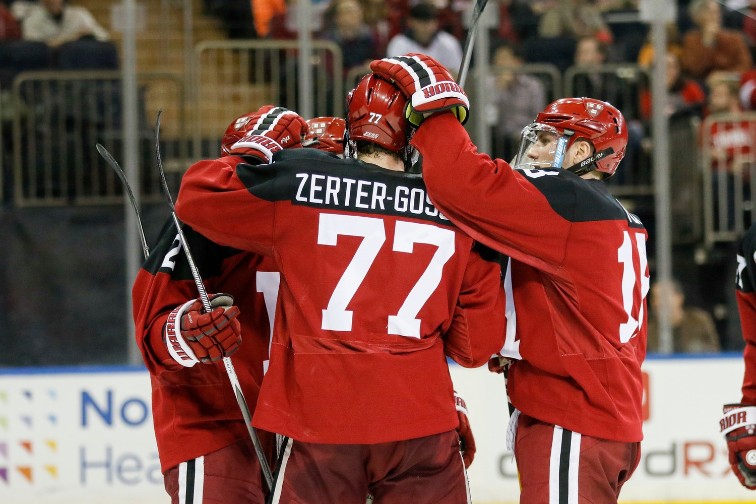 The Crimson powerplay, pictured here after scoring versus the Big Red at Madison Square Garden in November, leads the nation in execution rate (35.7%).