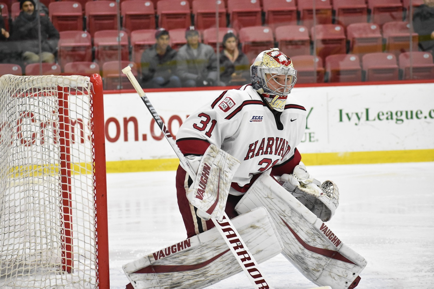 Harvard net-minder Michael Lackey has run away with the starting job after a few lackluster early-season performances, posting very sturdy numbers in his last 13 games.
