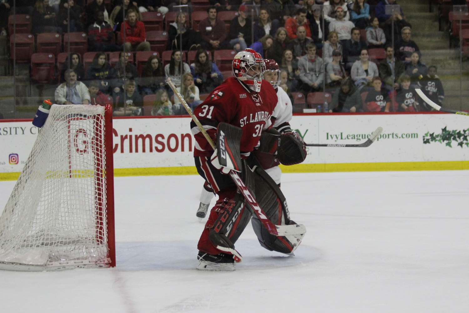 St. Lawrence net-minder Arthur Brey played only 4:22 of Saturday's game, swapping out after he conceded three goals on four shots.