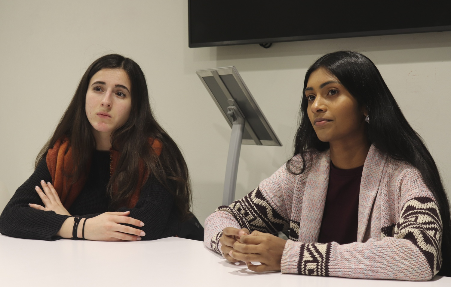 Sruthi Palaniappan '20 and Julia M. Huesa '20, President and Vice President of the Undergraduate Council, pictured here in January 2019.