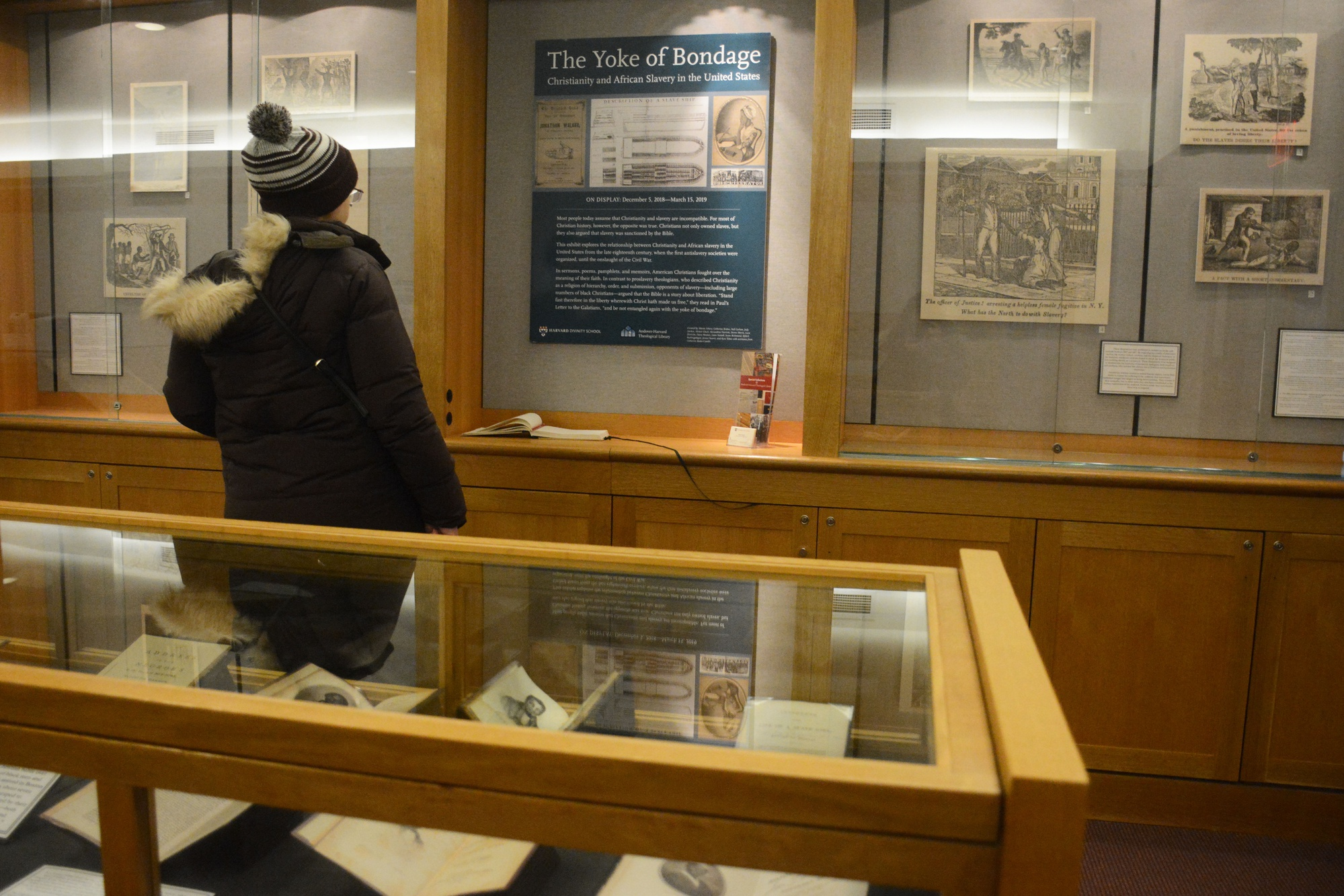 Curated by Professor Catherine Brekus's Freshman Seminar 43D: Christianity and Slavery in America, the Yoke of Bondage exhibit opened at the Andover-Harvard Theological Library December 5th.