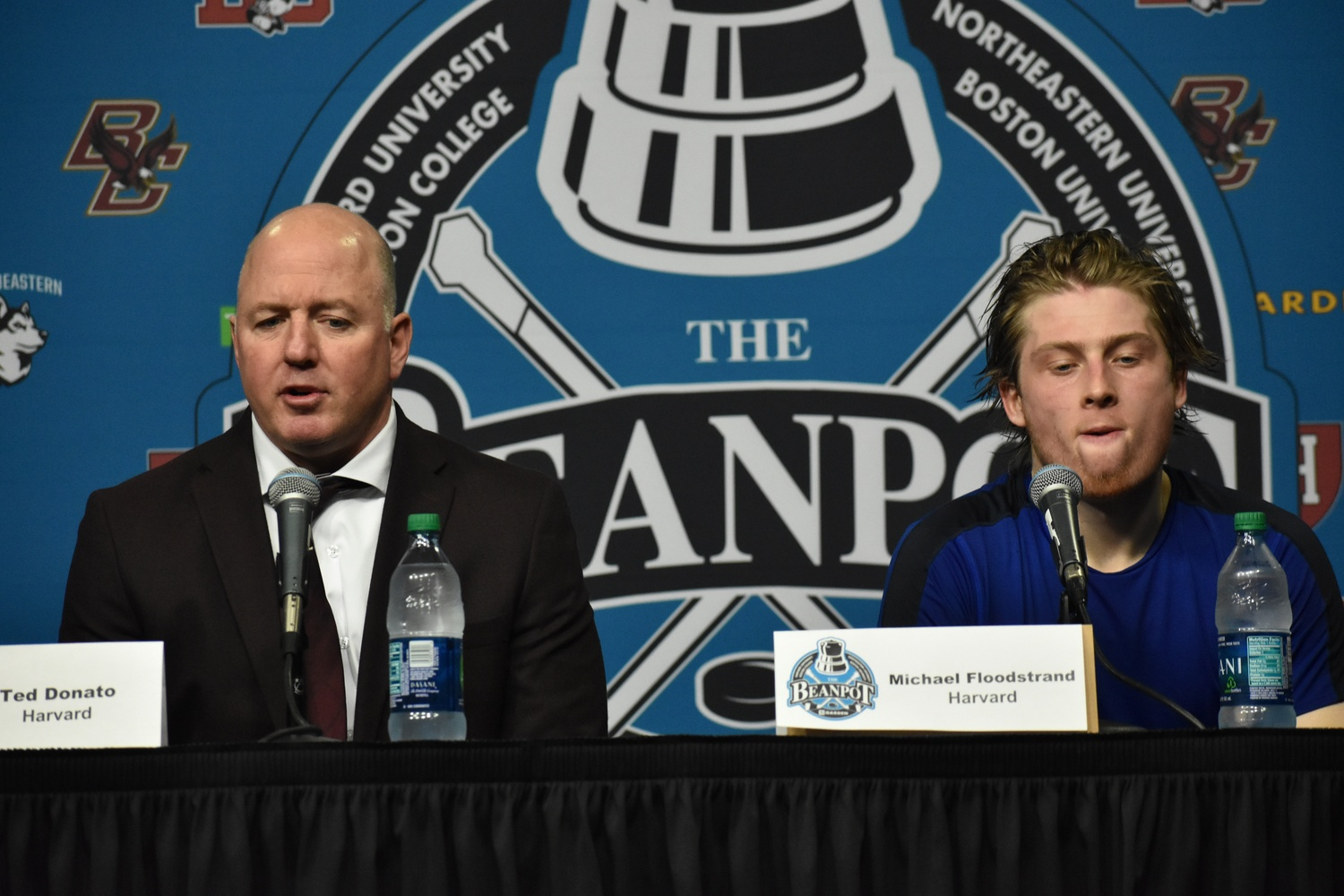 Harvard coach Ted Donato and co-captain Michael Floodstrand were both disheartened and frustrated after the disappointing loss.