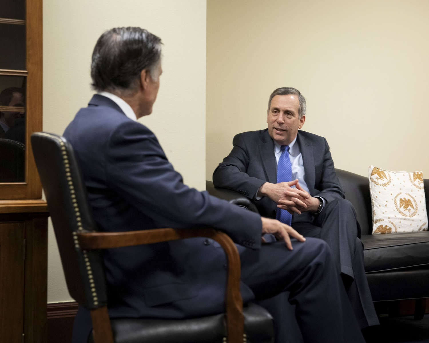 University President Lawrence S. Bacow met with Senator Mitt Romney Friday as part of a series of meetings in Washington, D.C.