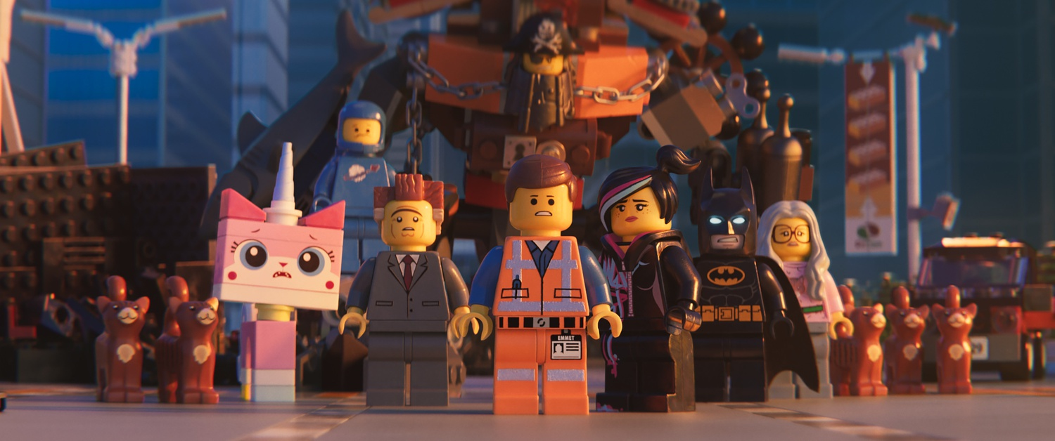 """Unikitty (ALISON BRIE), Benny (CHARLIE DAY), President Business (WILL FERRELL), MetalBeard (NICK OFFERMAN), Emmet (CHRIS PRATT), Lucy/Wyldstyle (ELIZABETH BANKS) and Batman (WILL ARNETT) in a scene from the animated adventure """"The LEGO® Movie 2: The Second Part,"""" from Warner Bros. Pictures and Warner Animation Group, in association with LEGO System A/S, a Warner Bros. Pictures release."""