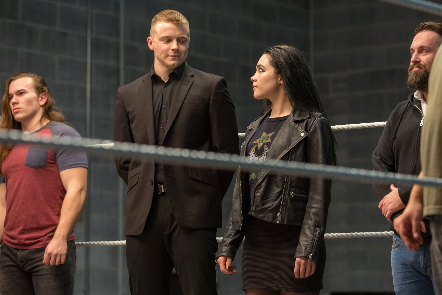 Jack Lowden (left) stars as Zak Knight and Florence Pugh (right) stars as Paige in FIGHTING WITH MY FAMILY, directed by Stephen Merchant, a Metro Goldwyn Mayer Pictures film.
