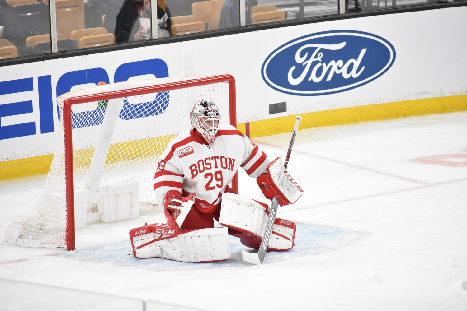 Freshman Vinnie Purpura started in net for the Terriers on Monday, displacing usual starter, junior Jake Oettinger.