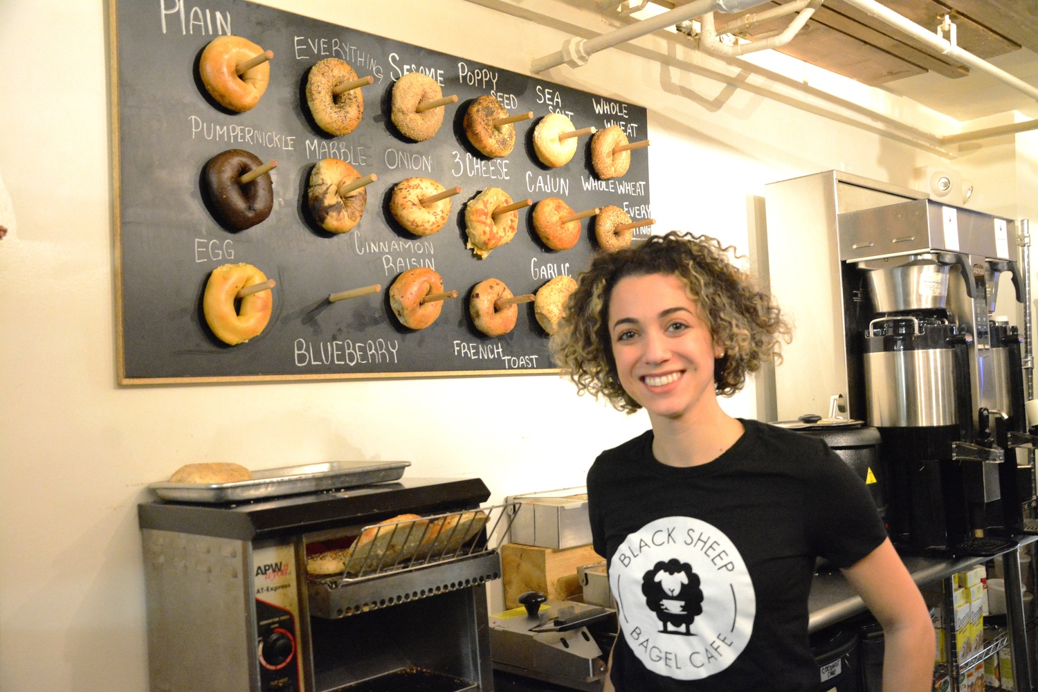Shoshanah Garber owns the Harvard Square bagel shop, Black Sheep Bagel Cafe, which serves a variety of bagel-related meals.