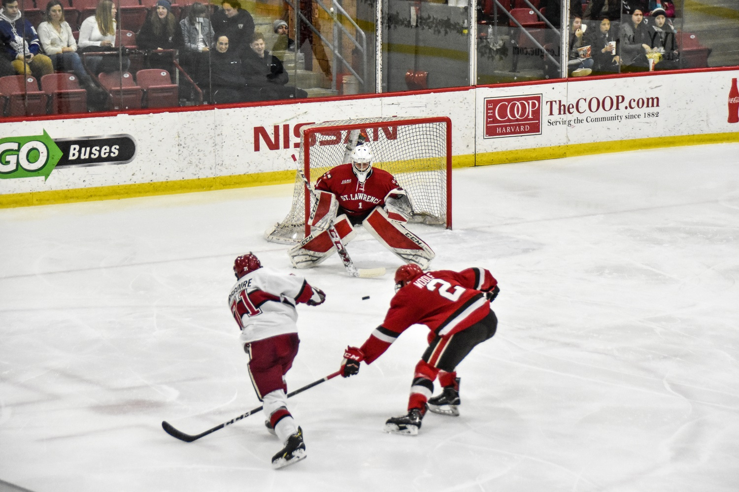 Saints rookie goalie Emil Zetterquist has probably seen more of the Crimson than he'd like this season. In nearly two hours of play, Zetterquist has faced down 69 Harvard shots and conceded 7 goals.