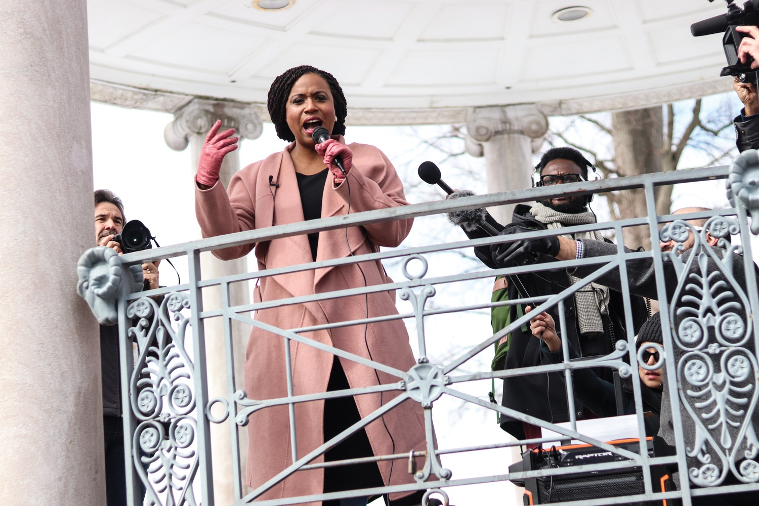 U.S. Representative Ayanna S. Pressley (D-Mass.) spoke to the crowd about the importance of youth voices and youth work at the Boston Common Grand Stand during a rally before the March for Youth Jobs. Other speakers included State Representative Liz Miranda, who spoke about her own experiences beginning to work at age thirteen.