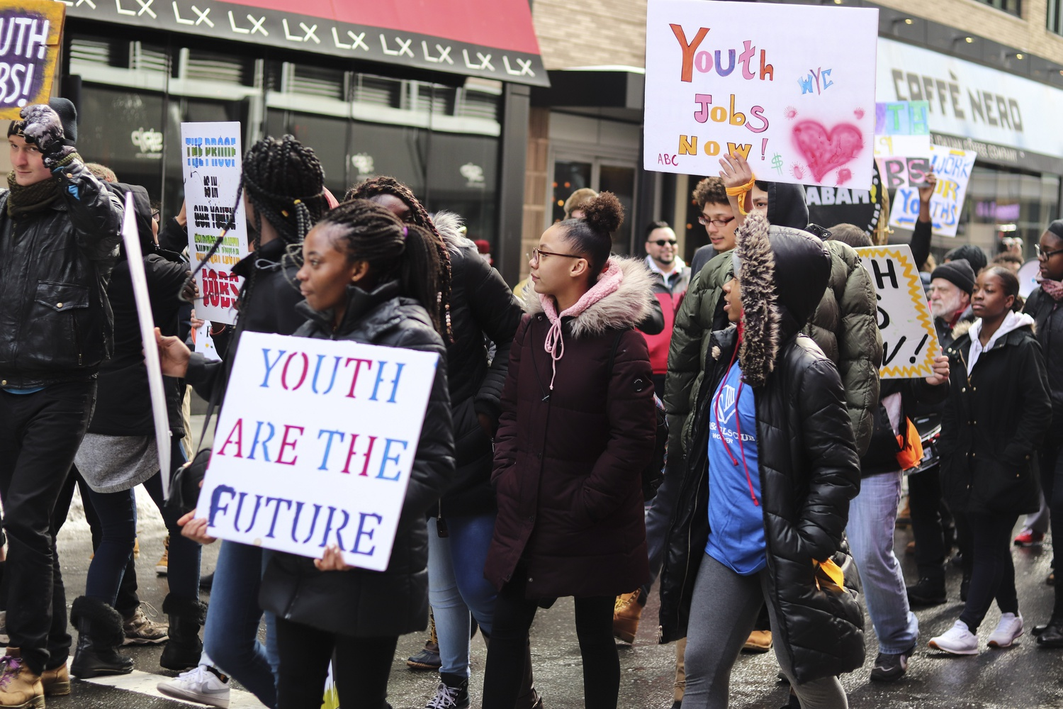 The March for Youth Jobs took place in downtown Boston Thursday afternoon. The crowd included many high school students from around the area as well as a band and adult supporters.