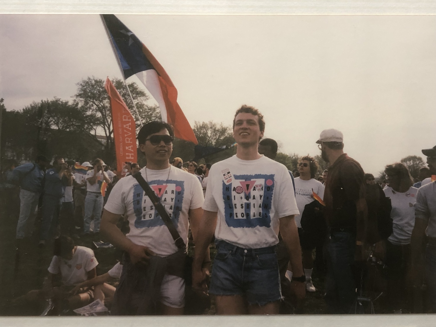 "Leon Lai and Patrick R. O'Malley '92 attend the 1993 ""March on Washington for Lesbian, Gay, and Bi Equal Rights and Liberation"""