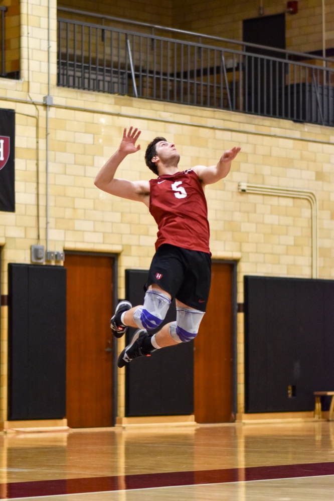 Sophomore Griffin Schmit goes up for the serve in prior action against Purdue Fort Wayne.