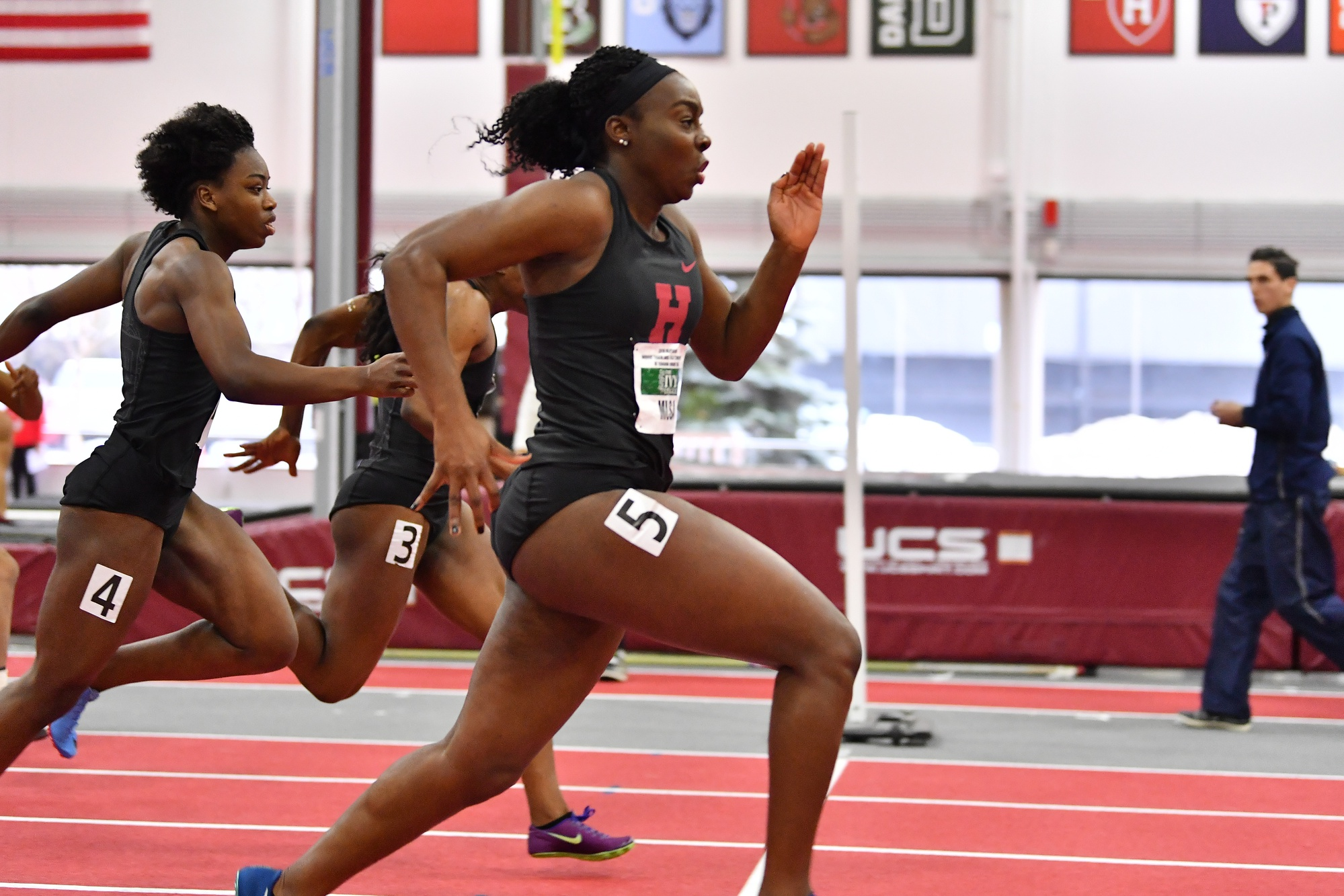 Ngozi Musa, who won the 60m dash, is also one of the captains for Harvard.