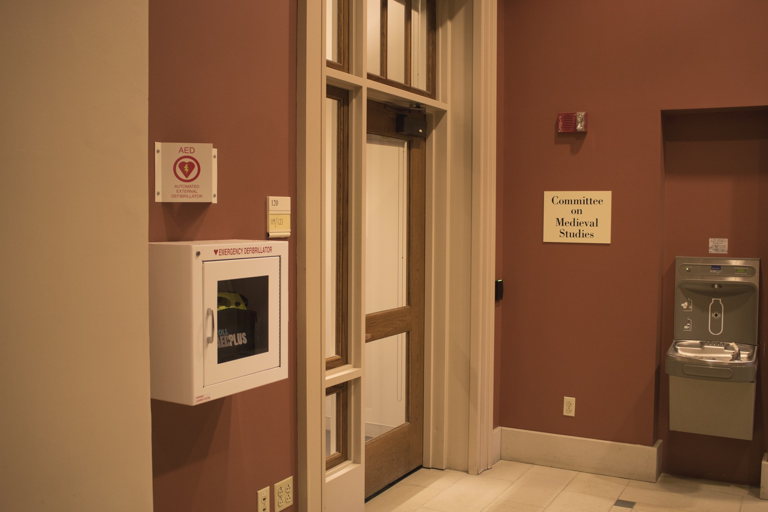An AED box in the Barker Center. Two College students failed to convince Harvard University Health Services to put naloxone in AED boxes across campus.
