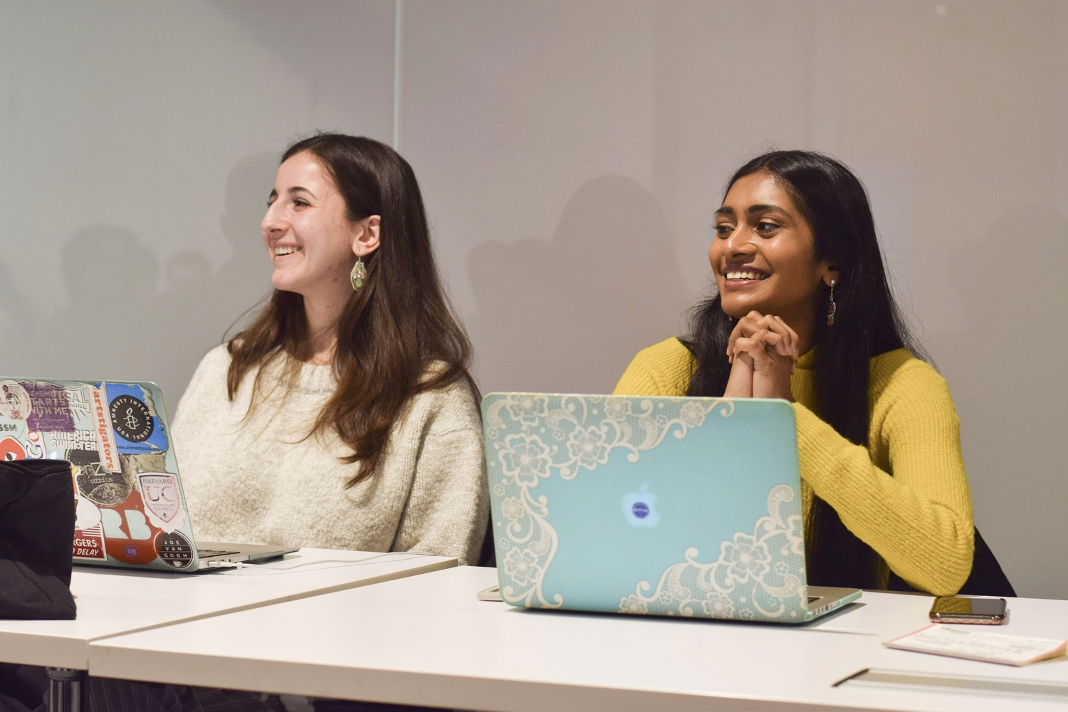 Sruthi Palaniappan '20 and Julia M. Huesa '20 led the Undergraduate council's Sunday meeting.
