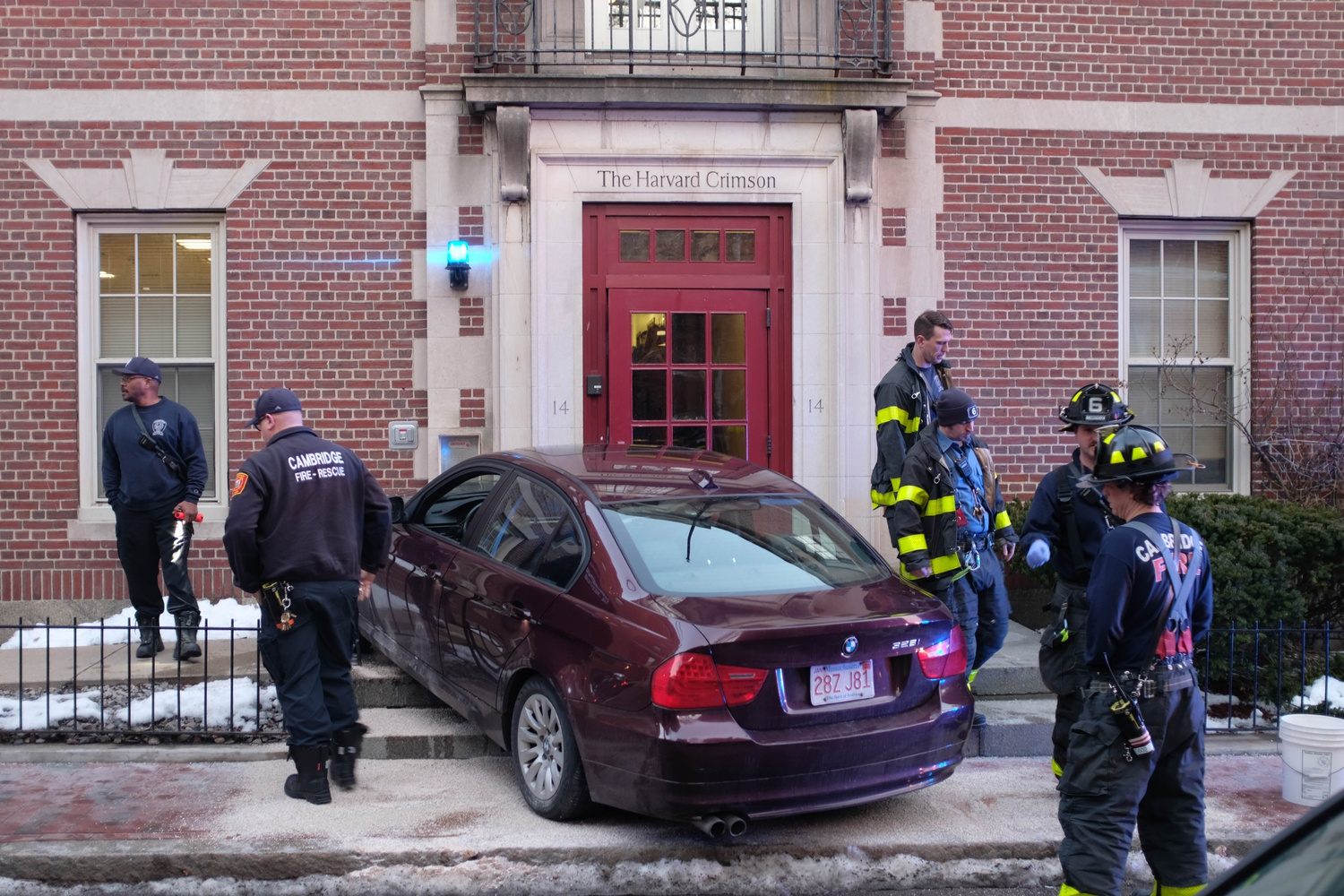 A car crashed into the front door of The Crimson Monday evening, damaging the exterior of the building. The driver sustained minor injuries.
