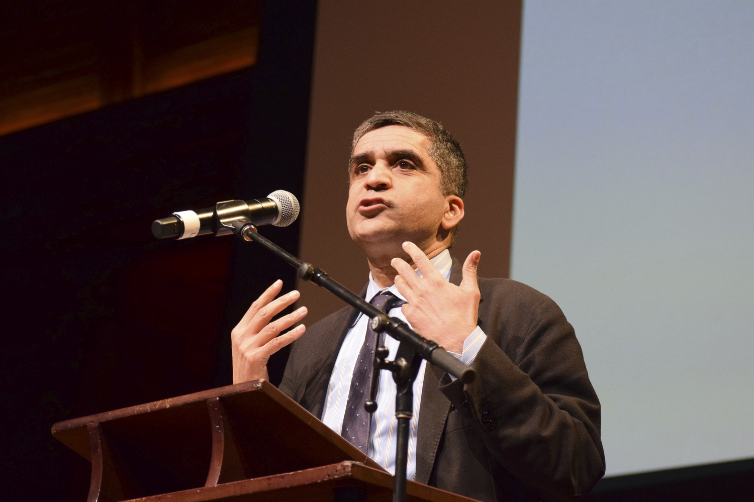Dean of the College Rakesh Khurana spoke during the Cultural Rhythms performance on Saturday.